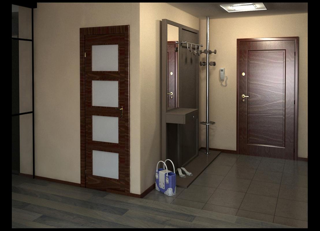 например, тот дизайн прихожей где много дверей фото потолке есть балки