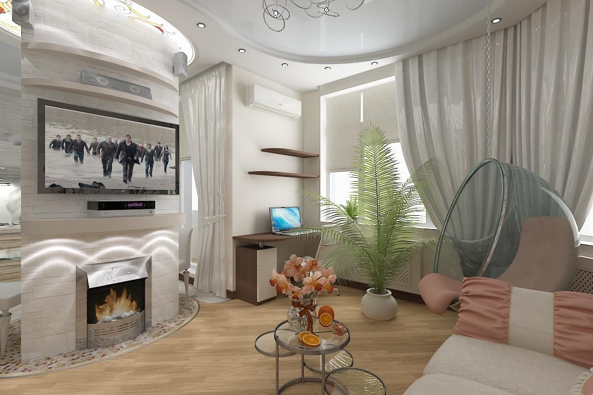 Ремонт зала с камином фото