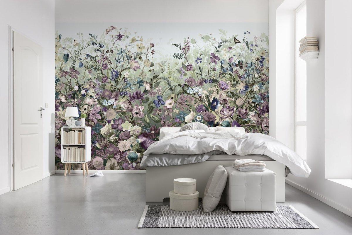 Обои крупные цветы в интерьере фото