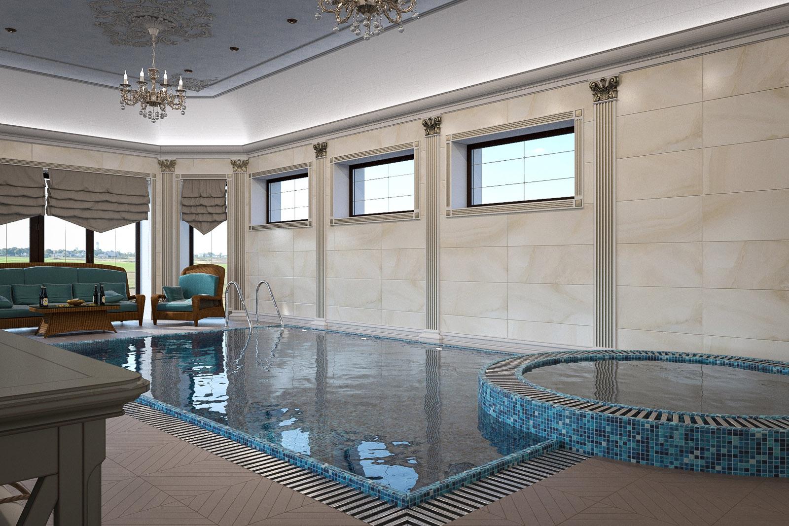 бассейн в коттедже дизайн фото счёт
