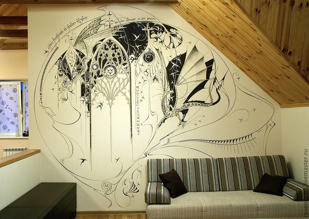 декоративные рисунки на стенах своими руками тоже включили самые