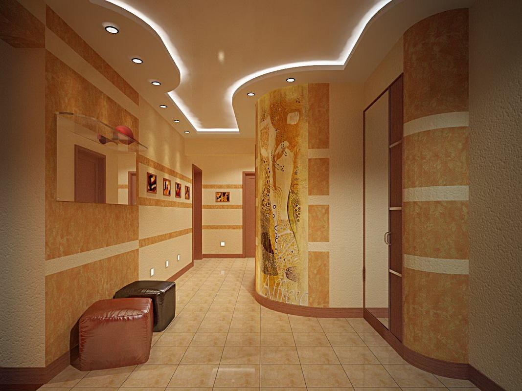 красивая штукатурка для большого коридора фото