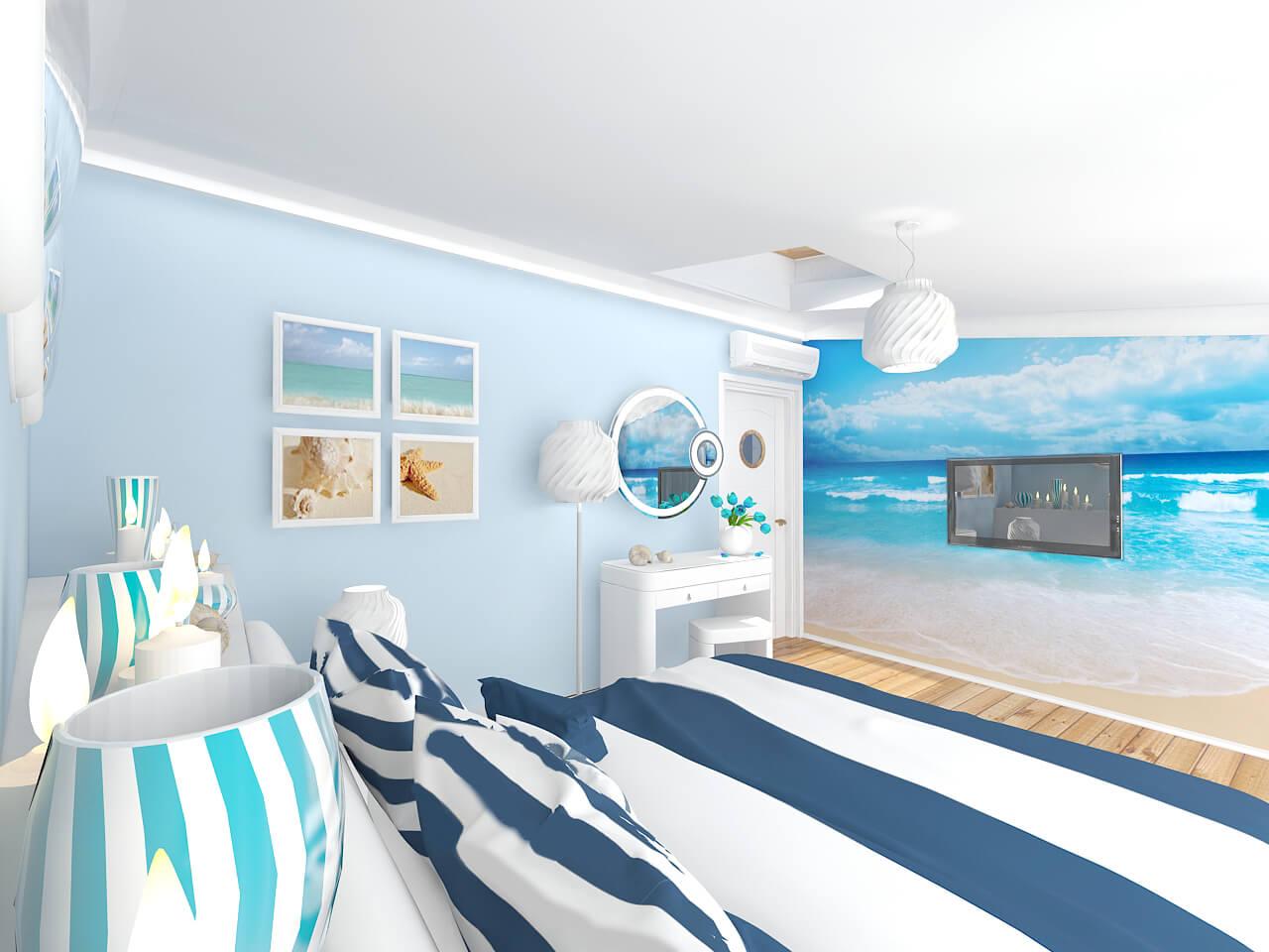 Картинки комнат в морском стиле далее чуть