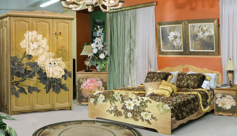 Мебель с росписью. Роспись 2 Филенки на спинке кровати