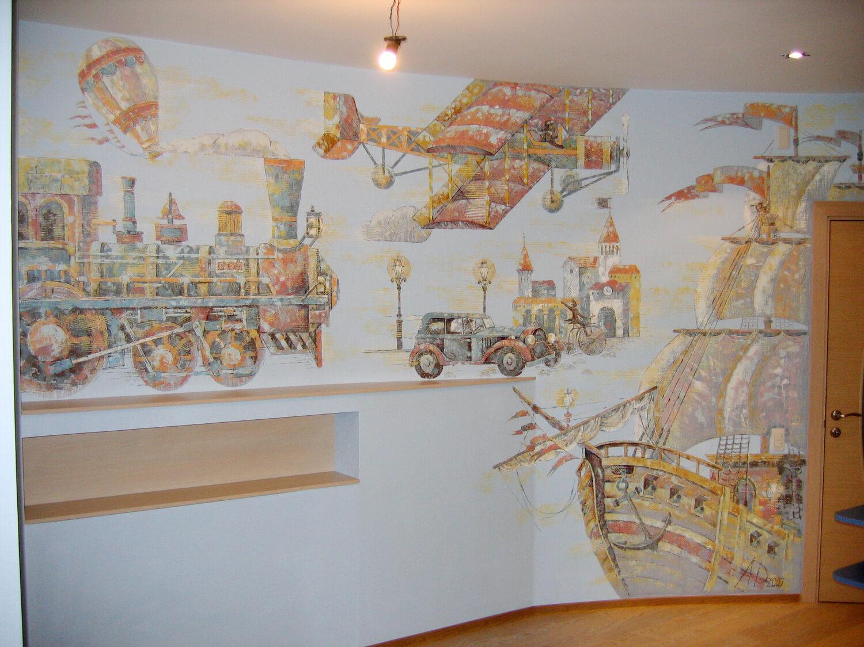 Роспись стен в детской Корабли и самолетики