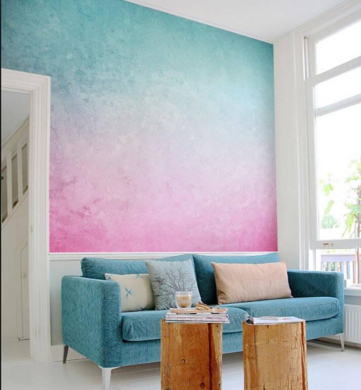 Декоративная покраска стен с градиентным переходом