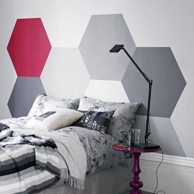 Декоративная покраска стен многоугольниками