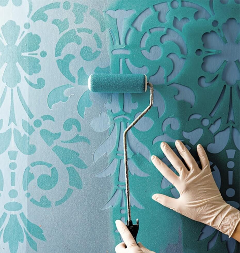 трафаретная настенная роспись своими руками