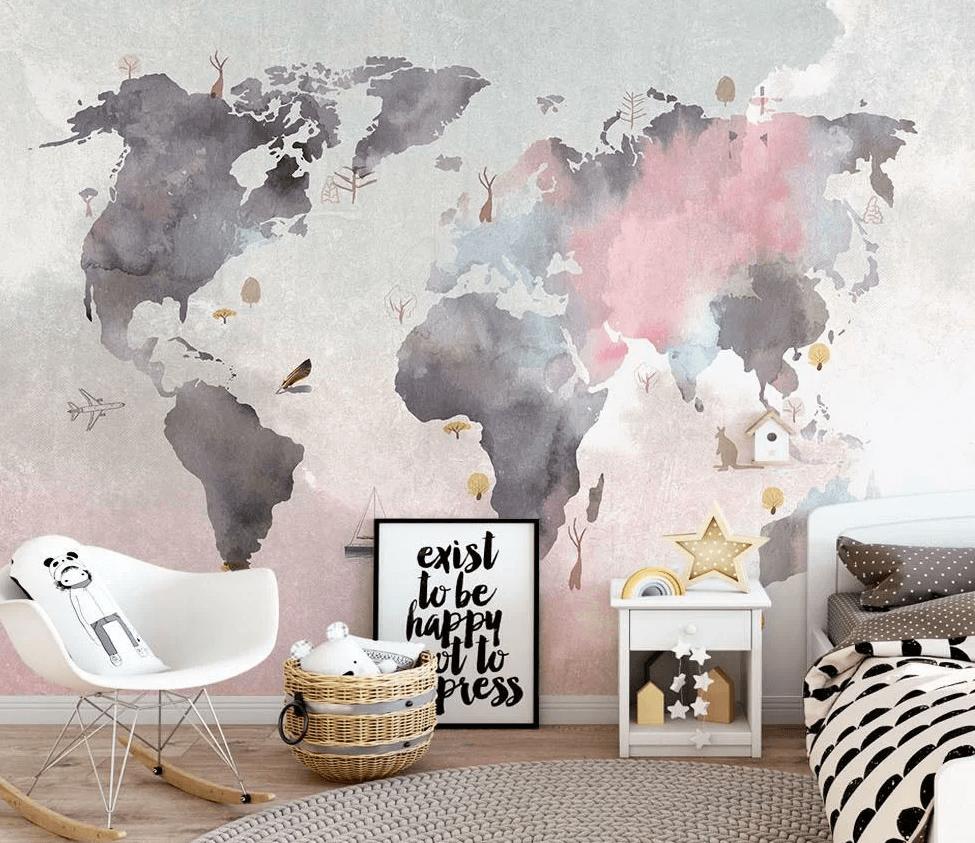 Роспись стен в детской комнате акварельная карта мира