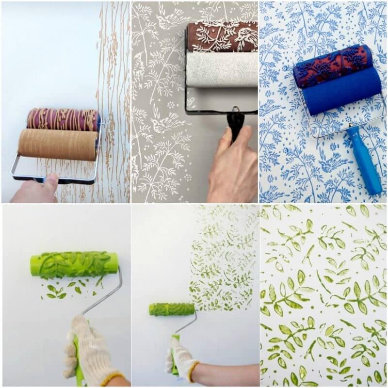 Декоративная покраска стен с помощью декоративного валика