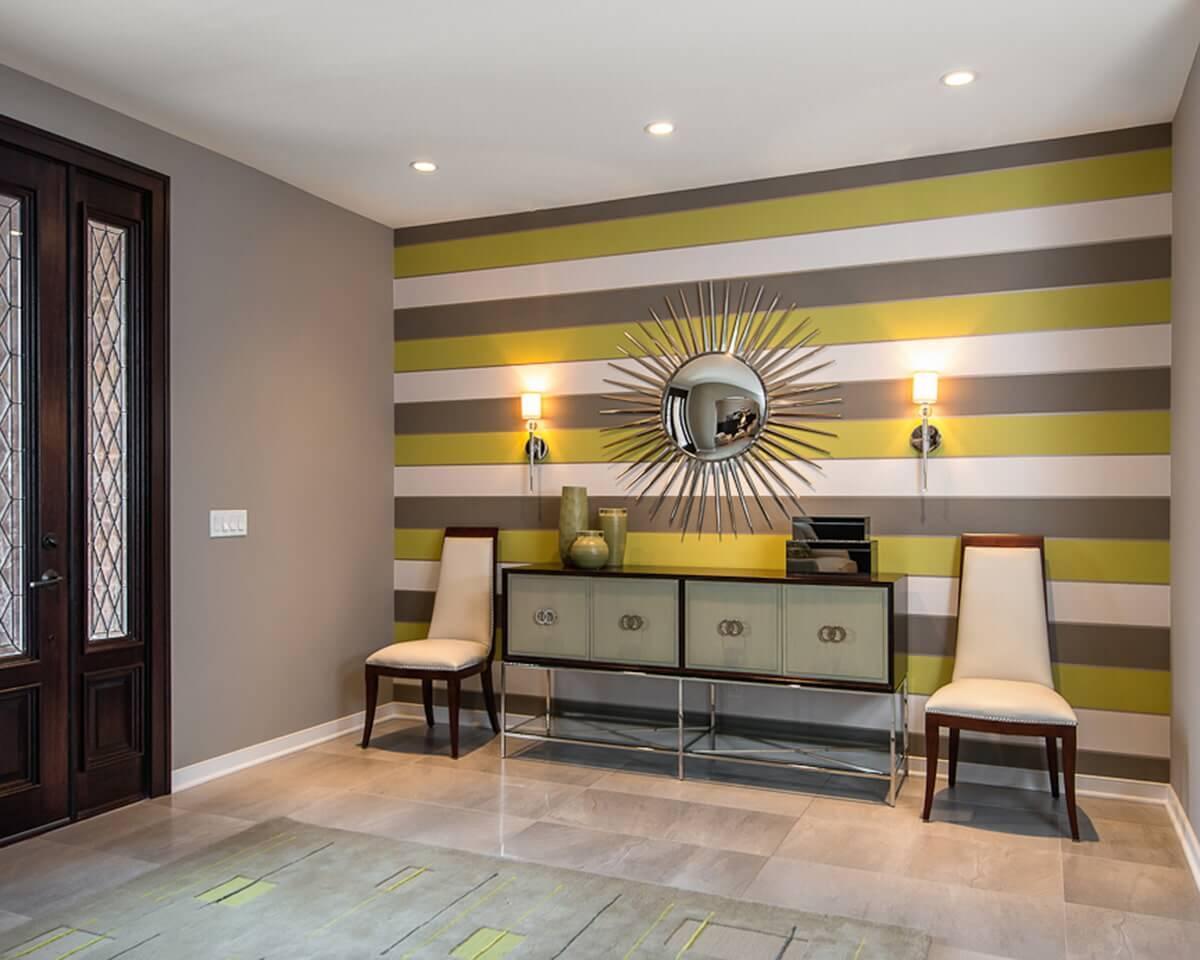 Декоративная покраска стен горизонтальными полосками