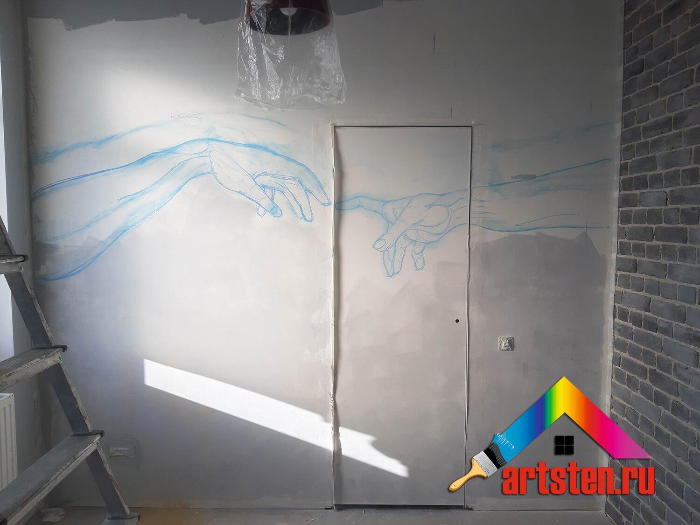 процесс росписи стен поэтапно -349