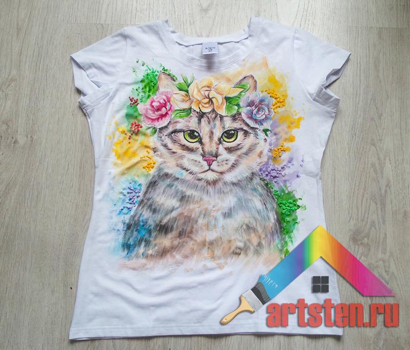 футболка с ручной росписью