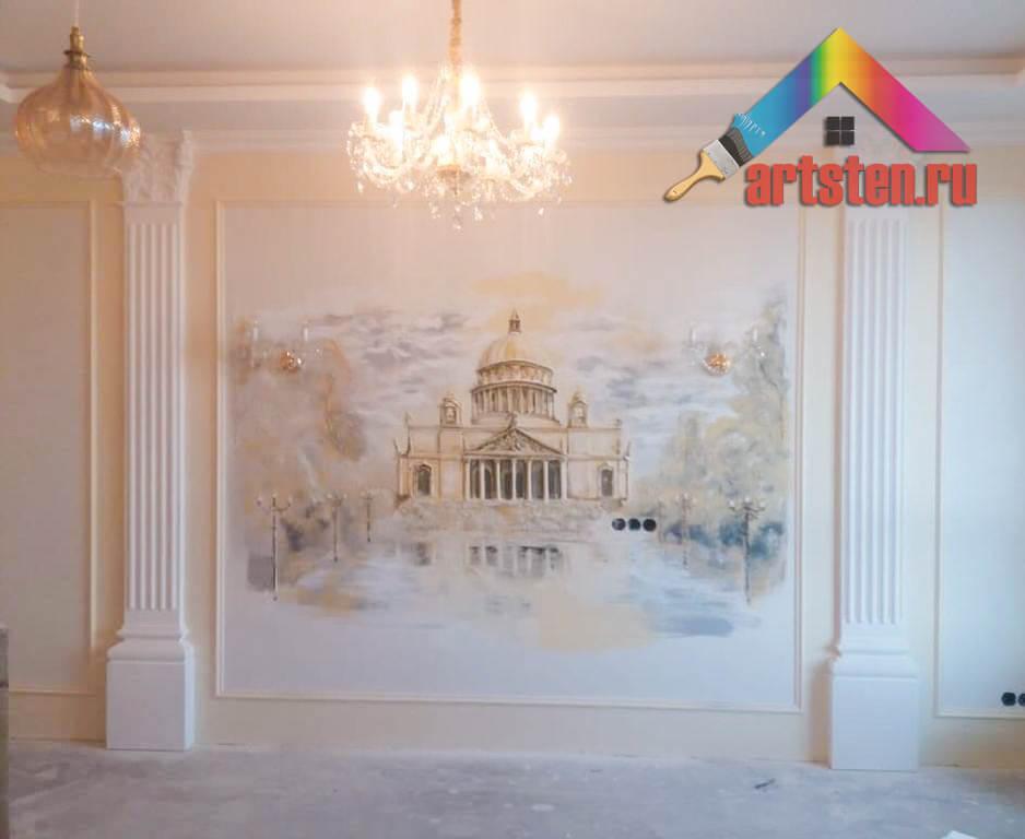 Объемная роспись на стене в интерьере фото
