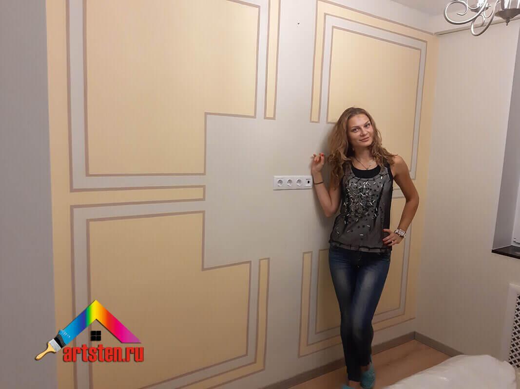 Геометрическая роспись стен под телевизор