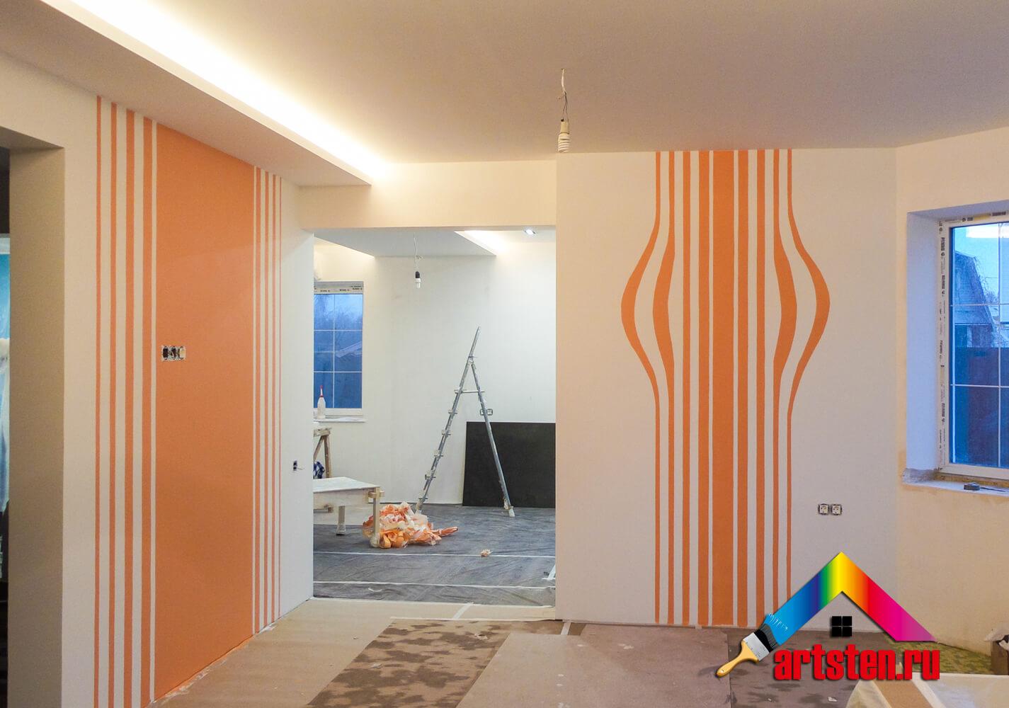Геометрическая роспись стен в интерьере кухни