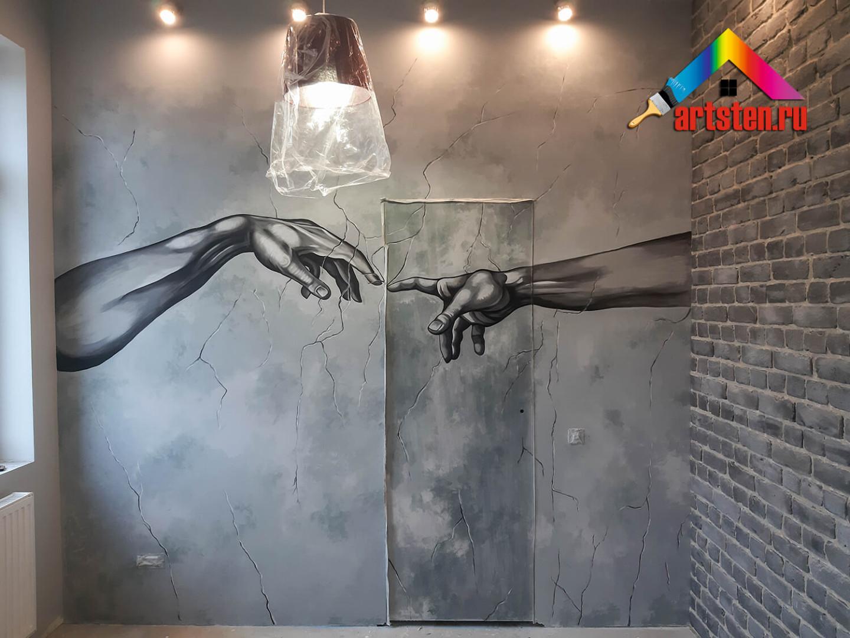 имитация масляных красок на стене