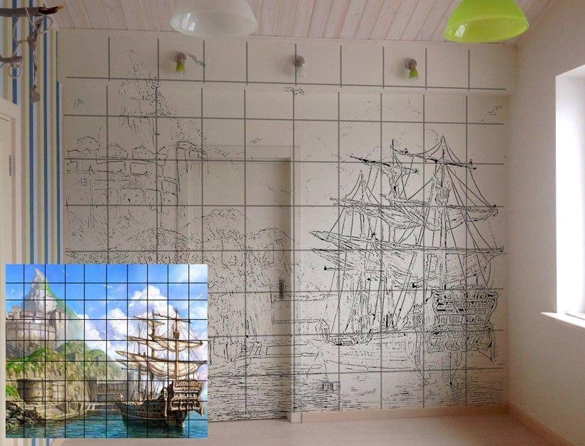 перенос изображения по квадратам на стену