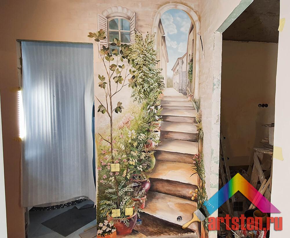 роспись стен по обоям под покраску